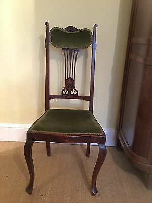 antique edwardian elbow, dining, hall chair with padded back inlaid detail Xmas