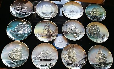 Lovely Complete Set 12 x Ltd Ed Franklin Mint Great Clipper Ships Plates - Boxed