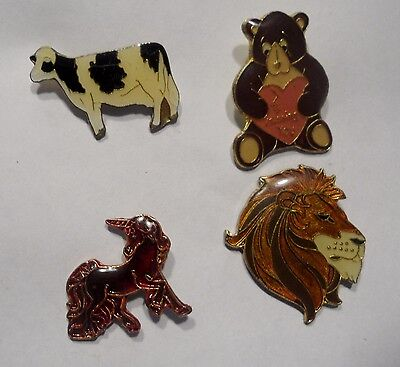 Four Old Collectible Cartoon Animal Pins