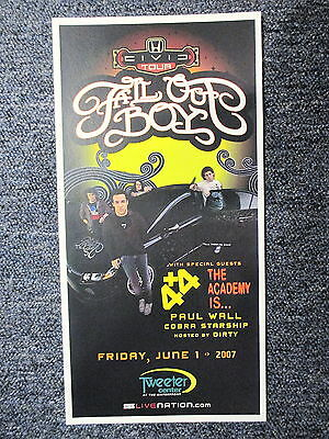"Fall Out Boy Concert Poster Philadelphia June 1, 2007, 8 1/2"" X 17"" ORIGINAL !"