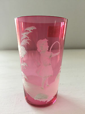 Beautiful Vintage Pink Cranberry Mary Gregory Art Glass Beaker/tumbler