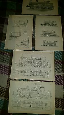 5 x 19thC Locomotive Drawing Book Plate Print Transportation Trains Victorian