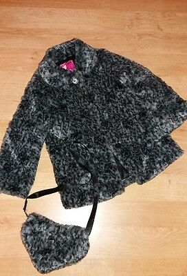 Girls Grey & Black Snow Leopard Faux Fur Coat With Matching Bag - Age 6 Years