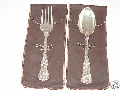 TIFFANY & CO STERLING SILVER ENGLISH KING SERVING 2 piece FORK SPOON 925-1000