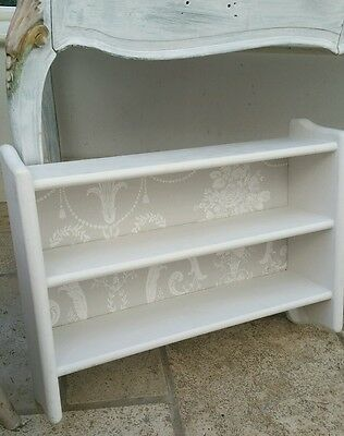 Small shabby chic painted set of 2 cream shelves display unit French Upcyled