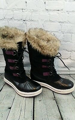 Leather kids black snow boots with purple & faux fur SZ 3