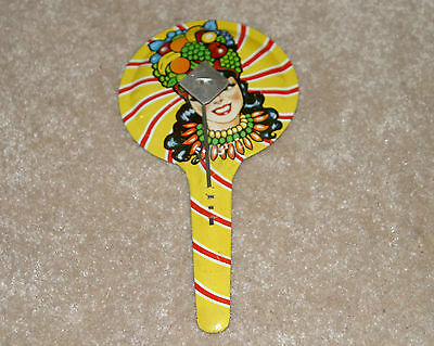 Old Vintage Carmen Miranda (with fruit) tin lithographed noisemaker double sided