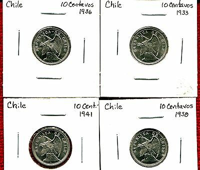 Chile 10 Cents Lot Of 4 Bu 1033/1936/1938/1941 Nr 8.50