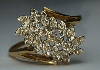Antique Natural Diamond Cluster Ring Cocktail leaf 10k yellow gold