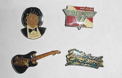 Four Old Collectible Rock Band Pins (Two of them rare Micheal Jackson pins)