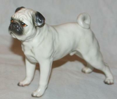 Vintage Hand Painted Fawn PUG Dog Figurine 1950's Delicate Unsigned Likely Japan