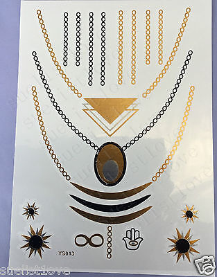 1pcs Temporary Metallic Tattoo Gold Silver Black Flash Tattoos Inspired necklace