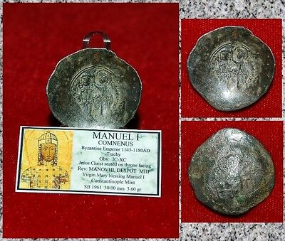 Ancient Byzantine Empire Coin Of Manuel I Trachy  Virgin Mary Blessing Manuel I