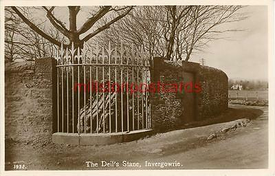 Real Photographic Postcard The Deil's Stane, Invergowrie, Perthshire, Scotland