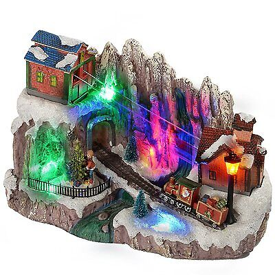 WeRChristmas 33 cm Scene Cable Car with Colourful LED Lights Christmas