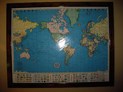 Large Wall Mounted Map of the World Colorprint New Era