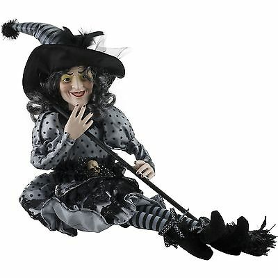 Halloween Victorian Witch Shelf Sitter Doll Figure Orange Black Silver Dress