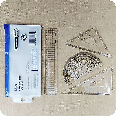 RULER SET 4 PIECES protractor triangle rulers pencil case drawing maths drafting