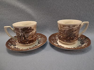 """Royal Staffordshire Ironstone,""""Staffordshire Stage""""   Cups & Saucers"""