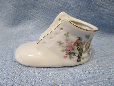Porcelain Baby Shoe With Birds and Flowers Design