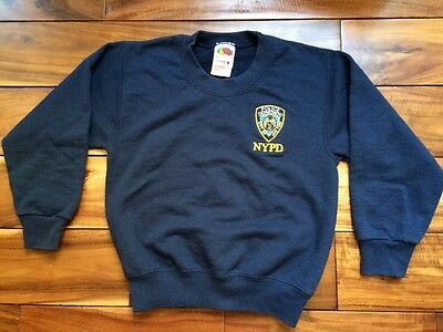 Fruit of the Loom NYPD Boys Girls Crew Neck Sweater Pullover Navy Size 4-5