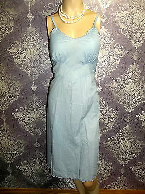 Vintage Full Slip Soft Cotton Taffeta Laros 1950s Embroidered Lingerie Blue 32
