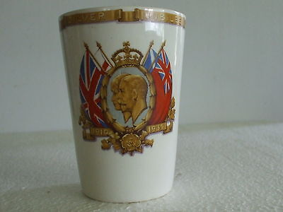 Rare 1910-1935 King George V & Queen Mary Silver Jubilee British Pottery Beaker