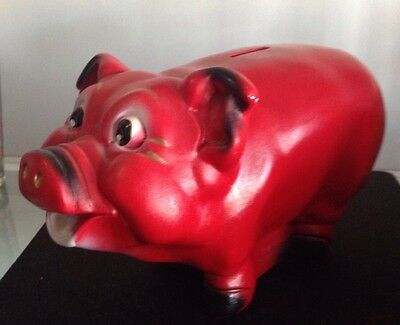 Vtg A.N. Brooks RED Chalkware Pottery Piggy Bank Chicago Ill USA