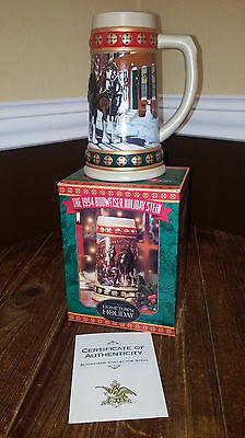 Budweiser Clydesdales Anheuser Busch Holiday Beer Stein 1994 Hometown Holiday