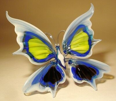 """Blown Glass Figurine """"Murano"""" Art Insect White, Blue, Yellow and Black BUTTERFLY"""