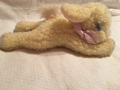 Vintage EDEN Plush LAMB With Inside Rattle Yellow And Blue Laying Down HTF Rare