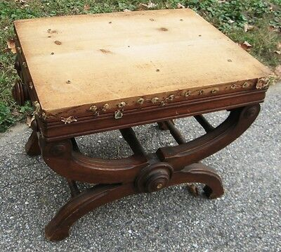 """Antique Victorian Adjustable Walnut Piano Bench """"the X Piano Taboret"""""""