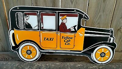 YELLOW TAXI CAB PORCELAIN SIGN - LARGE SIZE 1920's - 1930's STYLE