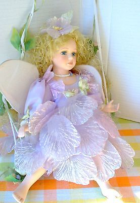 Cathay Collection Fairy On Swing - Doll - Blonde - Blue Eyes - Lavender Dress