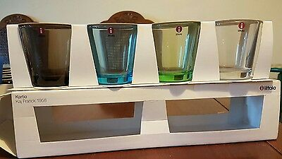 Kartio Kaj Fanck 1958 Set of 4 tumblers made in Finland one clear 3 colored