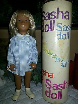 Vintage Sasha Doll Blonde in Blue Gingham Dress with Tube and Book 107