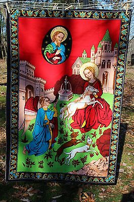 Religious Tapestry Wall Hanging Cotton Vintage Turkey Angel Dogs Unicorn Signed