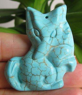 Amazing Carved Turquoise Foxes Pendant,crystal(1234)