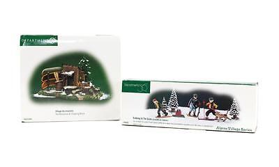Dept 56 Lot 2 Alpine Village Access Woodshed Chopping Block Trekking In The Snow