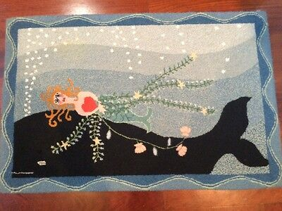 """Rare """"Sailors Valentine"""" Hand Hooked 100% Wool Rug by Designer Anne Bell Robb"""