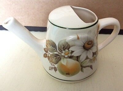 BRIXHAM DEVON Pottery WATERING CAN JUG Bar Accessory Apple and flower Print