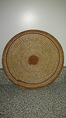 """Vintage South African Tribal Handwoven Coil Tray 11"""""""