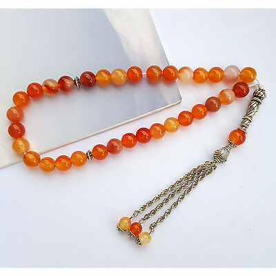 Natural Calcedony Agate 33 Prayer bead Islamic Muslim Tasbih Rosary Misbaha bead