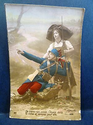 RPPC Tinted Postcard Patriotic WWI France French Soldier Helped by Nurse
