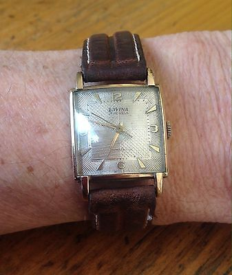1930s, Vintage Lavina Mens Watch, Solid 9ct Gold, Art Deco