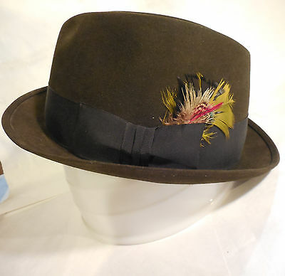 Vintage Alexander Customized Men's Brown Fedora Hat W/ Feather, Size 7