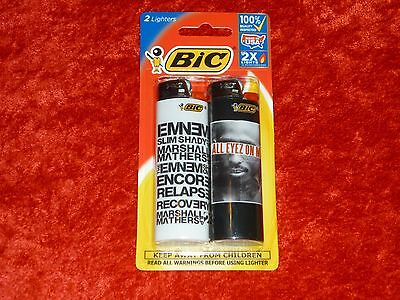 "BIC Special Edtion 2x Lighters! ""Eminem/Tupac"" Design! Factory Sealed! NICE!"