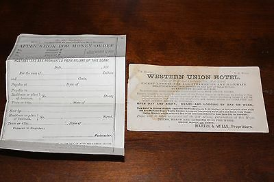 "VINTAGE ""WESTERN UNION Hotel New York-Advertising Card Money Order form (A17)"