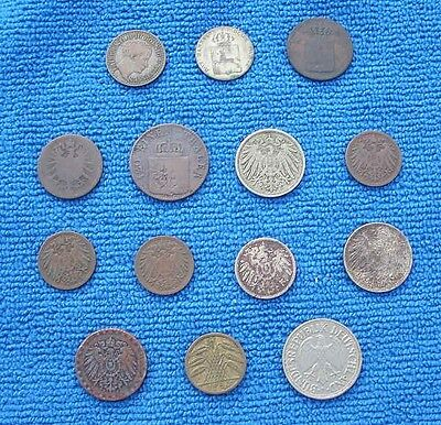 14 vintage Coins, German States, Prussia, Hanover, Germany Pfenning 1827 to 1950