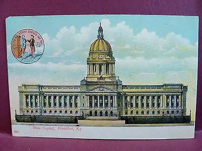 2 Old Postcards: State Capitol Frankfort, KY State Shield